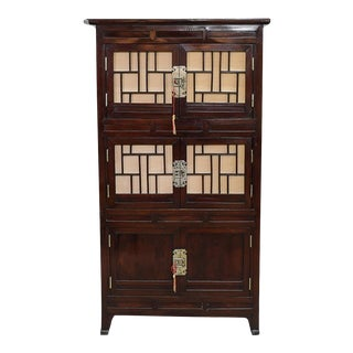 Antique Oriental Lacquered Wood Cabinet For Sale