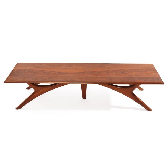 1950s Sculptural Solid Walnut Cocktail Table For Sale - Image 4 of 5