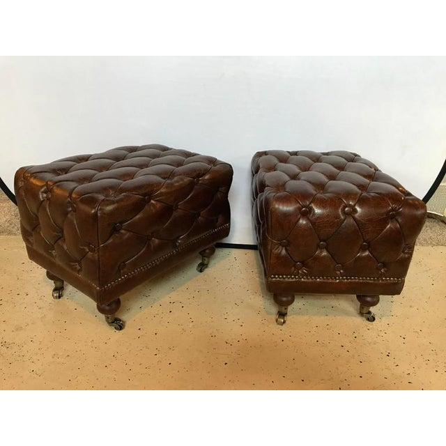 Georgian Leather Chesterfield Footstools - a Pair For Sale - Image 3 of 6