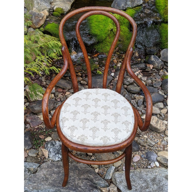 Antique Signed/Marked Michael Thonet Bentwood Beech Bistro Captains Chair For Sale - Image 6 of 13