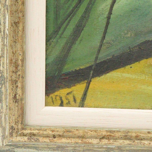 J. Blot France Modernist Interior With Spider Web Acrylic on Canvas Painting For Sale - Image 4 of 11