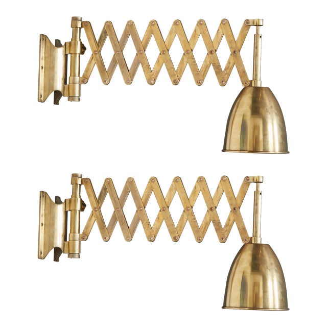 Pair of Italian Brass Extendable Library Lamps For Sale