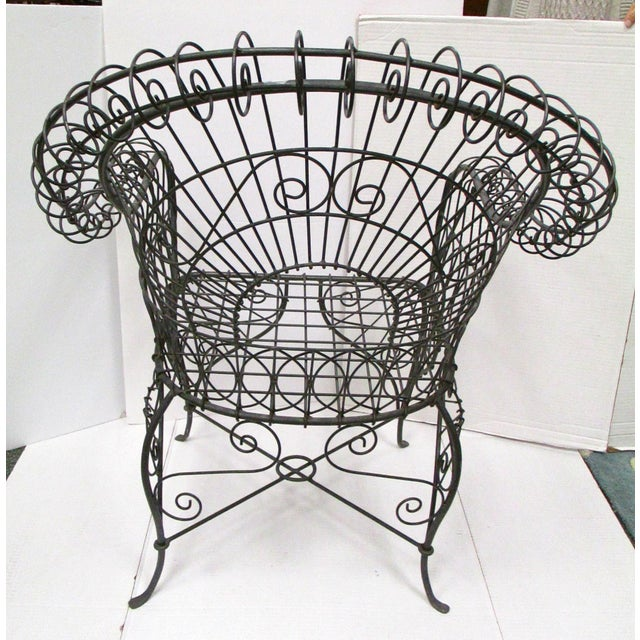 Victorian Style Black Wire Garden Chair - Image 5 of 6