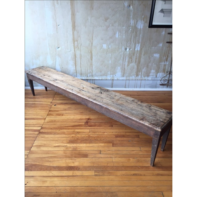 Antique Italian Farmhouse Rustic Bench - Image 4 of 7