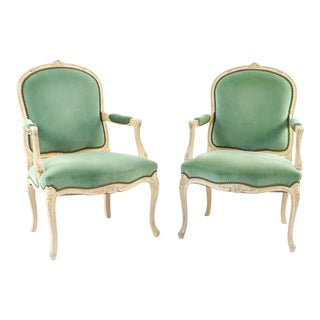 Pair of Green Velvet Louis XV Style Arm Chairs For Sale