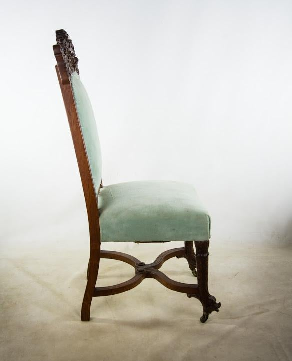 Carved Fruitwood Antique Victorian Accent Chair   Image 3 Of 11
