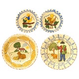 Image of Italian Hand-Painted Terra Cotta Plates - Set of 4 For Sale