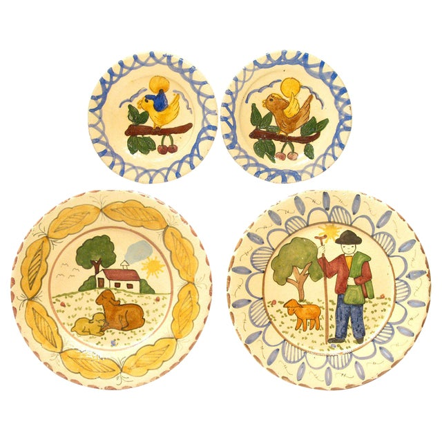 Italian Hand-Painted Terra Cotta Plates - Set of 4 For Sale