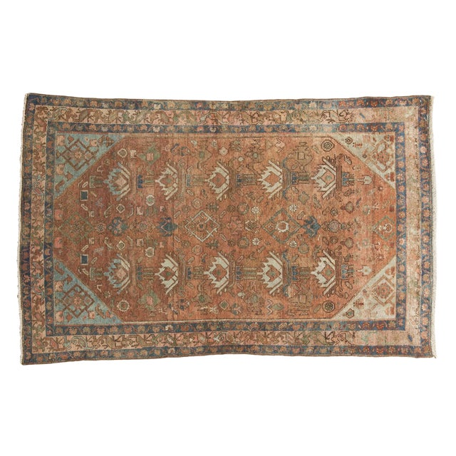 """Vintage Distressed Malayer Rug - 4' X 6'1"""" For Sale"""