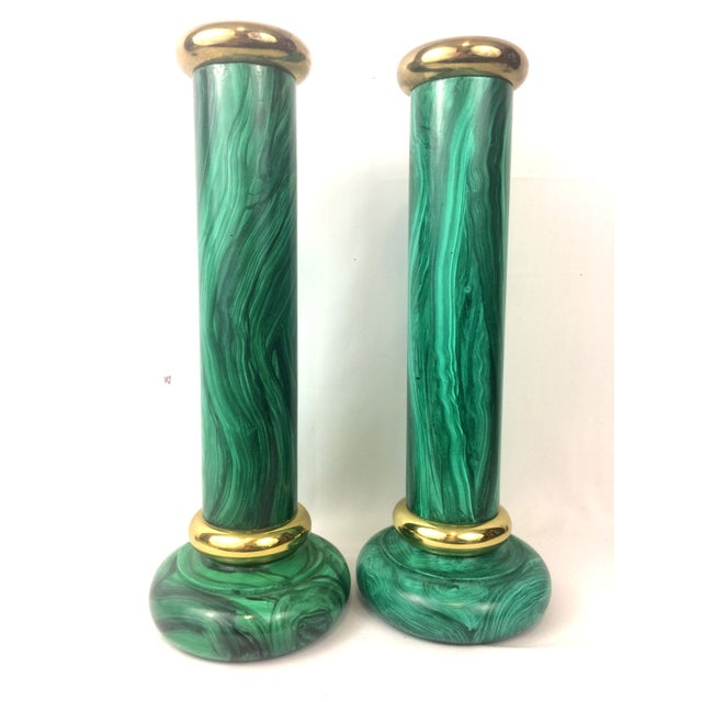 Vintage Piero Fornasetti Style Faux Malachite Candle Holders - A Pair - Image 6 of 8