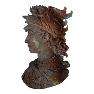 Huge Antique Copperplate Greek Soldier Wall Plaque