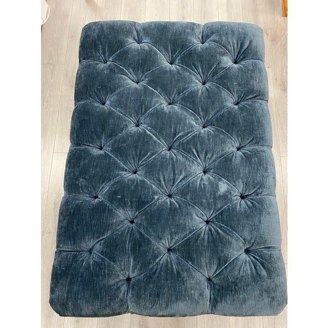 Textile Velvet Tufted Navy Blue Ottoman on Casters W/ Nailhead and Cording Detail For Sale - Image 7 of 8