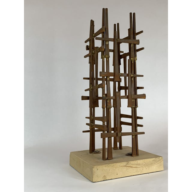 Coffee Abstract Steel Nail Sculpture by David Grossman For Sale - Image 8 of 8