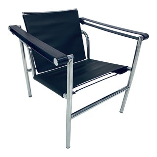 Le Corbusier, Pierre Jeanneret Charlotte Perriand Lc1 Brown Leather Lounge Chair For Sale