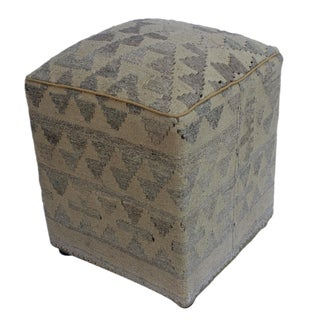 Arshs Dorene Tan/Gray Kilim Upholstered Handmade Ottoman For Sale