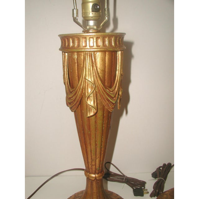20th Century Rewired Italian Gilt Swag Lamps - 2 - Image 9 of 10