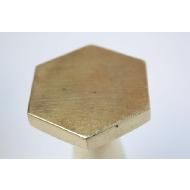 Metal Solid Brass Hexagonal Candlesticks - A Pair For Sale - Image 7 of 8