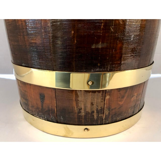 Gold Antique Brass Banded & Wood Lidded Ice Cooler With Initials For Sale - Image 8 of 12