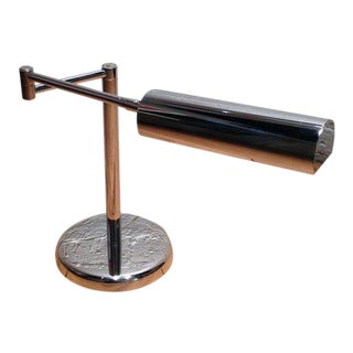Chrome Adjustable Arm Table Lamp by Koch and Lowy For Sale