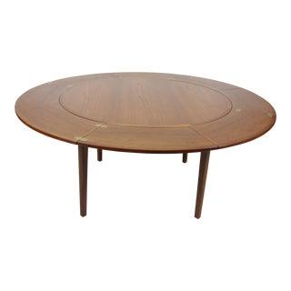 Mid Century Danish Modern 'Lotus' Flip Flap Teak Extending Circular Dining Table For Sale