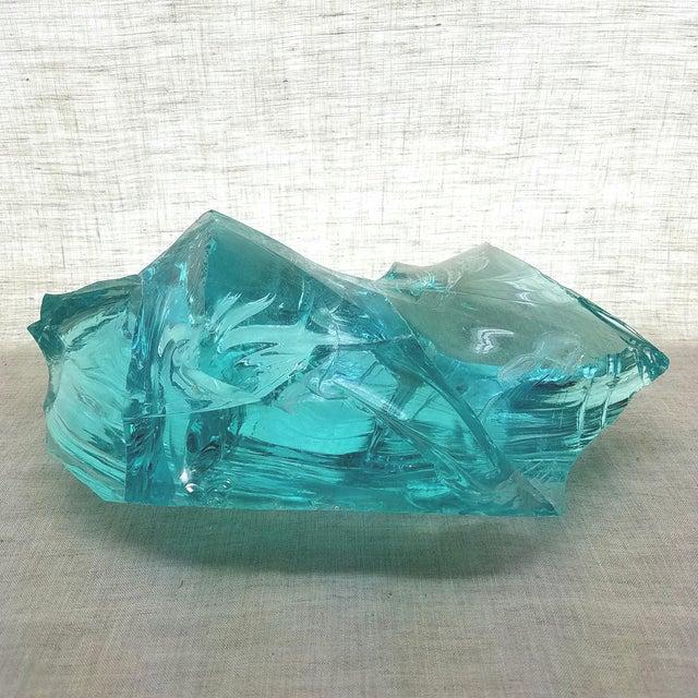 Aqua Slag Glass Sculpture For Sale In Dallas - Image 6 of 9