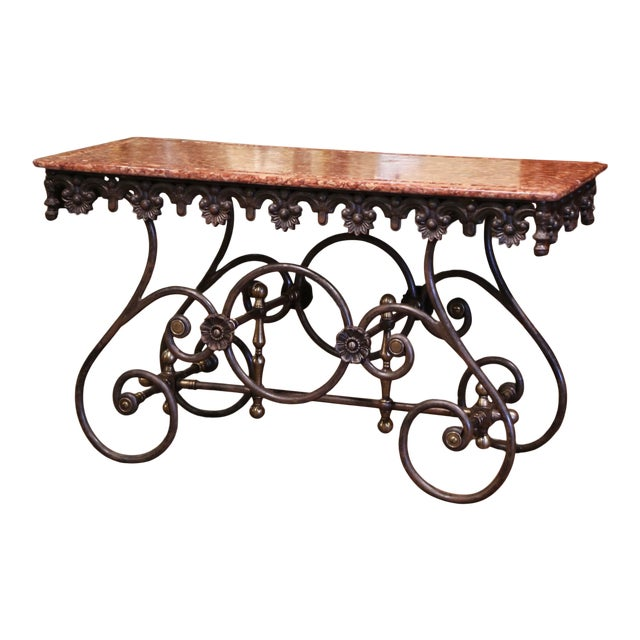 French Polished Iron and Brass Pastry Table With Variegated Red Marble Top For Sale