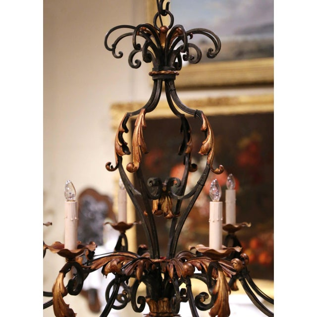 Metal Early 20th Century French Louis XV Painted & Gilt Six-Light Iron Chandelier For Sale - Image 7 of 12