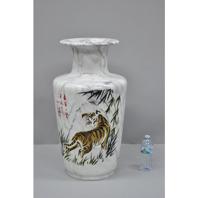 Carved & Painted Tiger Oriental Scene White Marble Vase Vessel For Sale - Image 12 of 13
