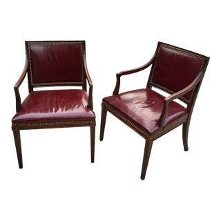 Leather Library Armchairs - Set of Two
