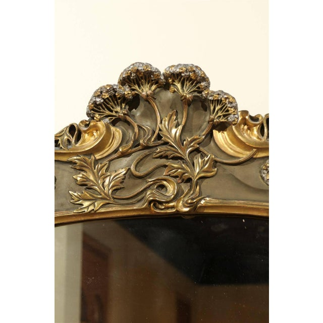 Art Nouveau Style Gold & Taupe Mirror For Sale - Image 10 of 11
