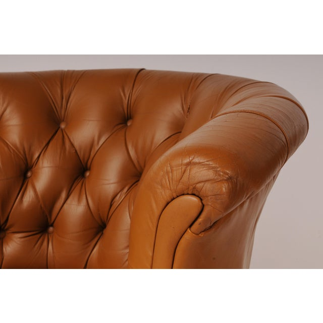 Tufted Swivel Chairs in Carmel Leather by Nicos Zographos - A Pair For Sale In Chicago - Image 6 of 12