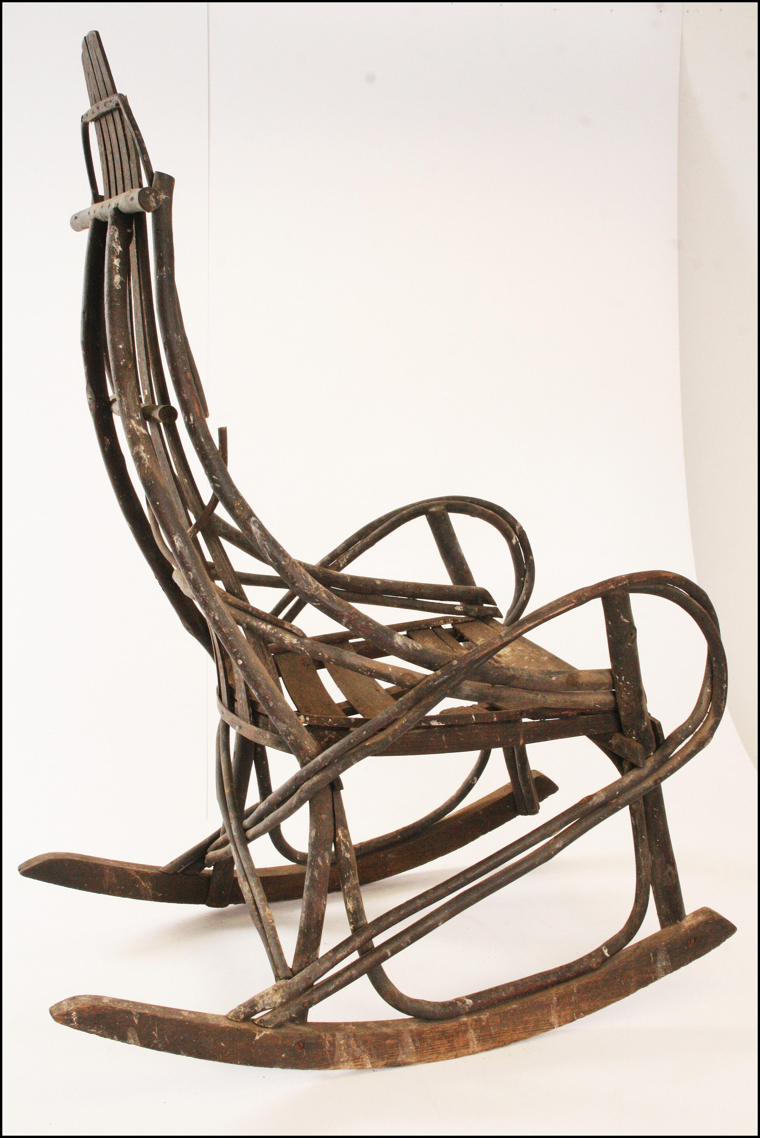 Vintage Adirondack Handmade Wood Rocking Chair - Image 7 of 11  sc 1 st  Chairish & Vintage Adirondack Handmade Wood Rocking Chair | Chairish