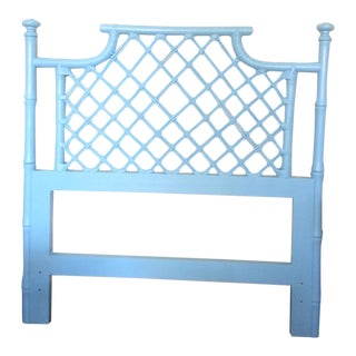 Vintage Hollywood Regency Painted Faux Bamboo Twin Headboard For Sale
