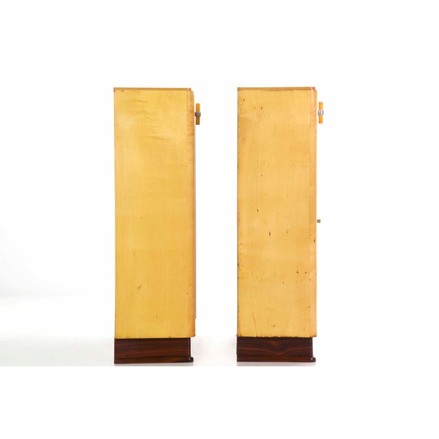 Art Deco Birch & Rosewood Vitrine Bookcase Cabinets circa 1930 - A Pair For Sale - Image 5 of 11