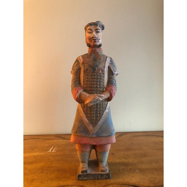 Hand Painted Chinese Emperor Qin She Huang Terracotta Figurines - A Pair For Sale - Image 5 of 7
