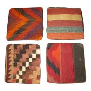 Vintage Afghan Kilim Pillow Cases - Set of 4 For Sale