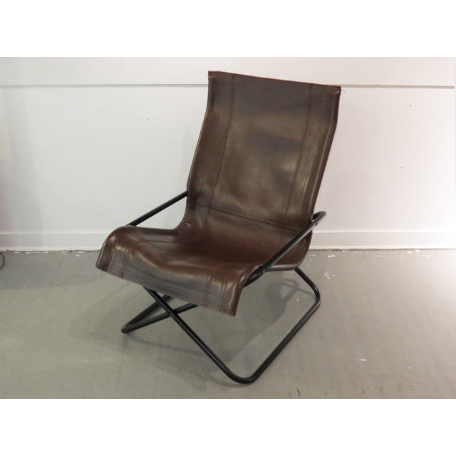 Vintage MCM Uchida Leather Sling Chair For Sale - Image 4 of 11