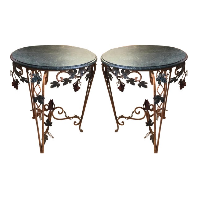 Pair of Vintage Iron Tole & Marble Tables W Grape Vines For Sale