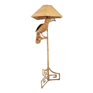 1976 Mario Lopez Torres Wicker Toucan Floor Lamp For Sale