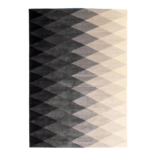 Solo Rugs Grit and Ground Collection Contemporary Harlequin Black/White Hand-Knotted Area Rug, Black , 8' X 10' For Sale