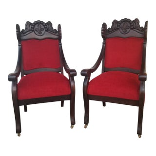 1880s Gryphon-Back Arm Chairs - a Pair For Sale