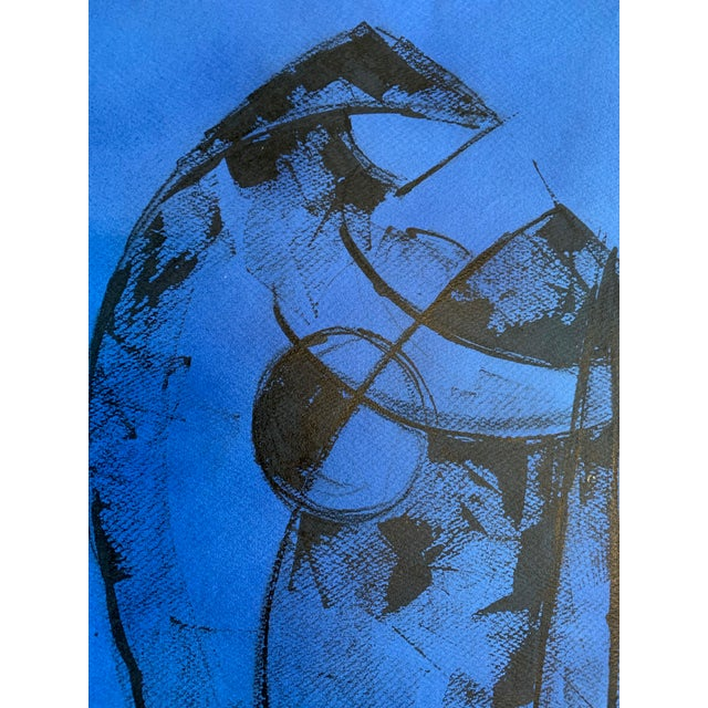 """1980s """"Figure on Blue"""" Painting Leon Collard For Sale - Image 4 of 5"""