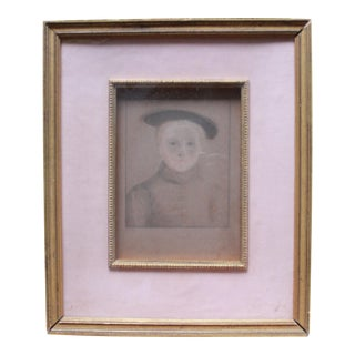 Hand-Colored Portrait of Girl Etching by Hans Halbein For Sale