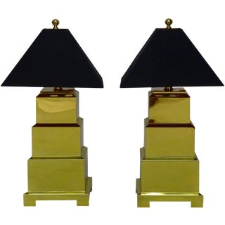 Frederick Cooper Brass Pagoda Lamps - A Pair