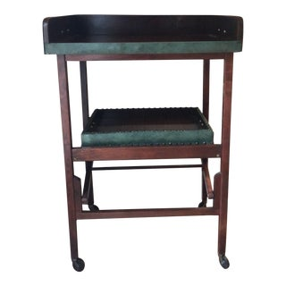 Antique Wood & Green Leather Bar Cart For Sale