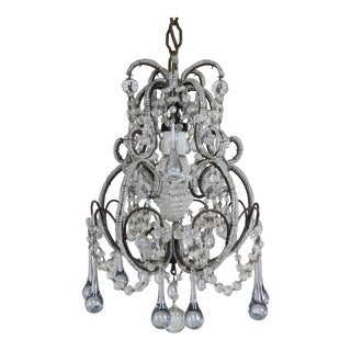 French Petite Crystal Beaded Chandelier Circa 1920s For Sale