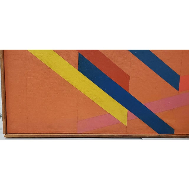 Tom Patrick (American, 20th C.) Vintage Geometric Abstract Painting on Canvas C.1970s For Sale In San Francisco - Image 6 of 11