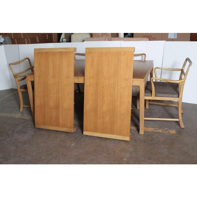 Brown Edward Wormley Dunbar Mahogany Dining Table With Chairs Two Leaves Two Armchairs For Sale - Image 8 of 11