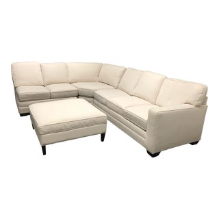 Contemporary Bassett Furniture Three Piece Sectional and Ottomane - 4 Piece Set