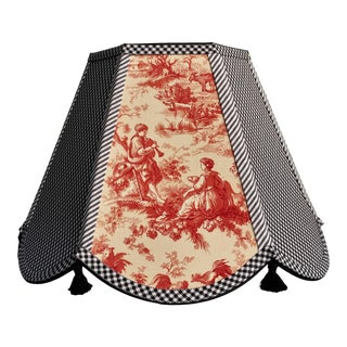 Red Toile Lampshade Black White Gingham